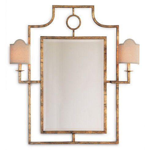 $785.00 MIRROR WITH ATTACHED SCONCES