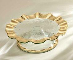 Barbara Stewart Exclusives   ANNIEGLASS RUFFLE PEDESTAL CAKE PLATE $326.00