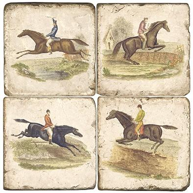 $55.00 EQUESTRIAN COASTERS W/ IRON HOLDER