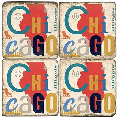 $55.00 CHICAGO COASTERS W/ IRON STAND