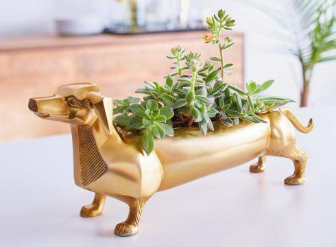 Barbara Stewart Exclusives   BRASS DACHSHUND PLANTER $180.00