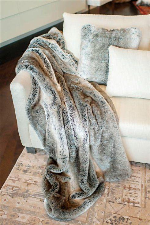 Fabulous Furs   FAUX GREY RABBIT THROW $199.00