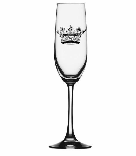 $15.00 CHAMPAGNE FLUTE W/ CROWN ENGRAVING