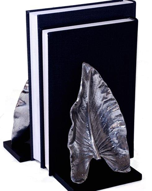 Dessau   LEAF NICKEL BOOKENDS PR. $75.00