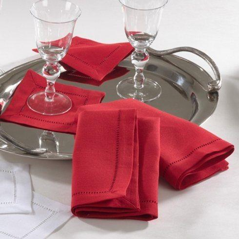Saro Designs   HEMSTITCHED DINNER NAPKINS-RED $8.50