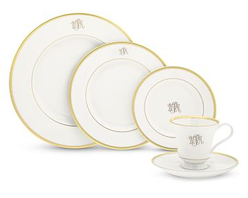 $275.00 5 PC PLACESETTING MONOGRAM DINNERWARE-GOLD