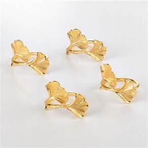 Saro Designs   GOLD GINKO LEAF NAPKIN RINGS SET/4 $25.00