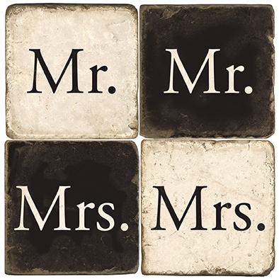 $55.00 MR. & MRS MARBLE COASTERS W/ IRON STAND