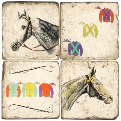 $54.00 COASTERS-HORSE/SILKS W/ IRON STAND