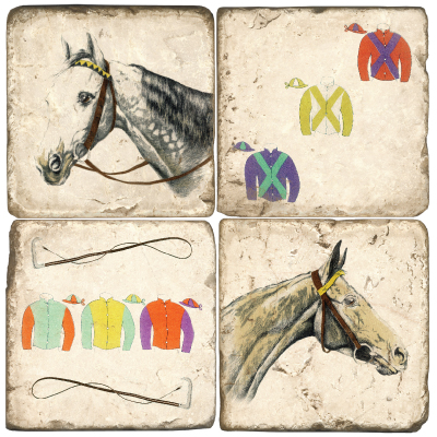 $55.00 COASTERS-HORSE/SILKS W/ IRON STAND