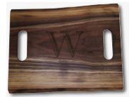 $110.00 WALNUT LIVE EDGE DOUBLE HANDLE BOARD
