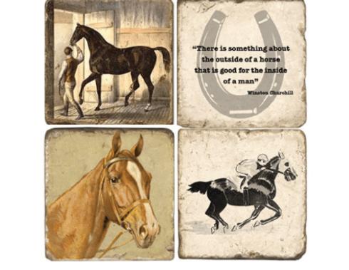 Studio Vertu   STONE HORSE COASTERS SET/4 W/ IRON STAND $54.00
