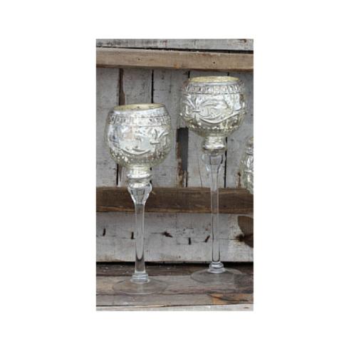 $35.00 SILVER GLASS VOTIVE CANDLESTICK LG