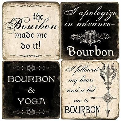 $54.00 BOURBON STONE COASTERS SET/4 W/ IRON STAND