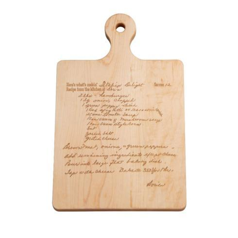 $75.00 HANDLED ARTISAN WOOD BOARD W/ ENGRAVED FAMILY RECIPE