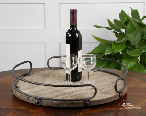 Uttermost   WOODEN ROUND TRAY W/ IRON ACCENTS $140.00