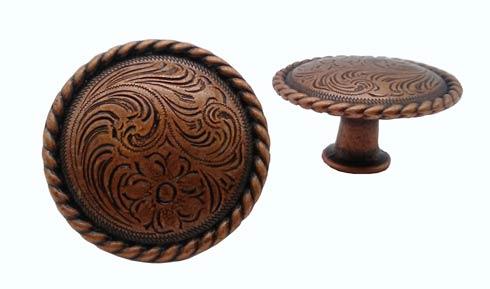 $12.20 Engraved Flower Copper Ox Cabinet Knob