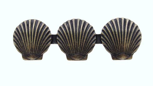 $18.60 Triple Scallop Seashell 3-1/16-in Center to Center Brass Ox Cabinet Pull