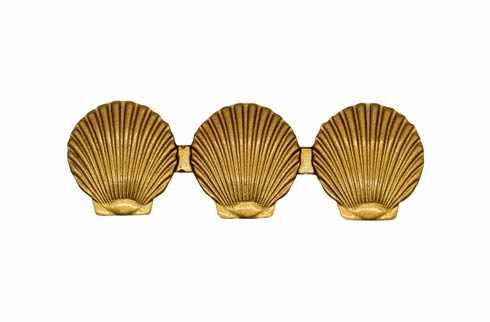 $20.10 Triple Scallop Seashell 3-1/16-in Center to Center Lux Gold Cabinet Pull