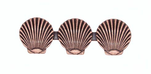 $18.60 Triple Scallop Seashell 3-1/16-in Center to Center Copper Ox Cabinet Pull