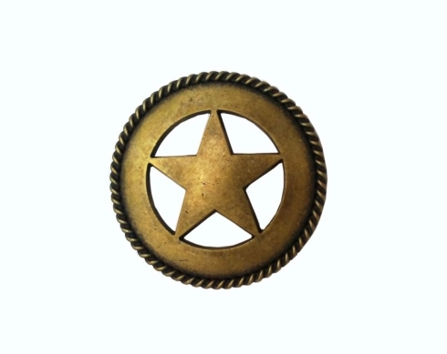 $17.50 Large Star with Rope 2-1/8-in Center to Center Brass Ox Cabinet Pull