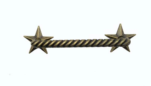 $17.50 Rope with Stars 3-1/2-in Center to Center Brass Ox Cabinet Pull
