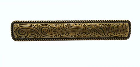17.6 Engraved Flower 3-15/16-in Center to Center Brass Ox Cabinet Pull