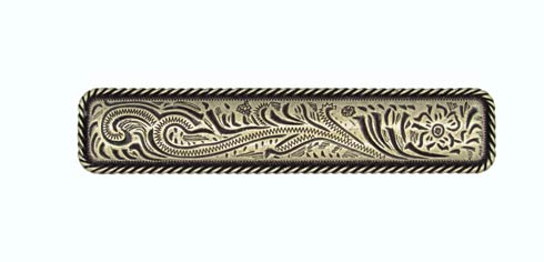 $15.70 Engraved Flower 3-1/16-in Center to Center Brass Ox Cabinet Pull