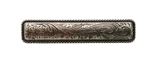 $15.70 Engraved Flower 3-1/16-in Center to Center Pewter Ox Cabinet Pull