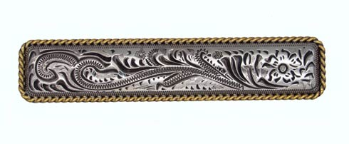$15.70 Engraved Flower 3-1/16-in Center to Center Old Silver/Gold Cabinet Pull