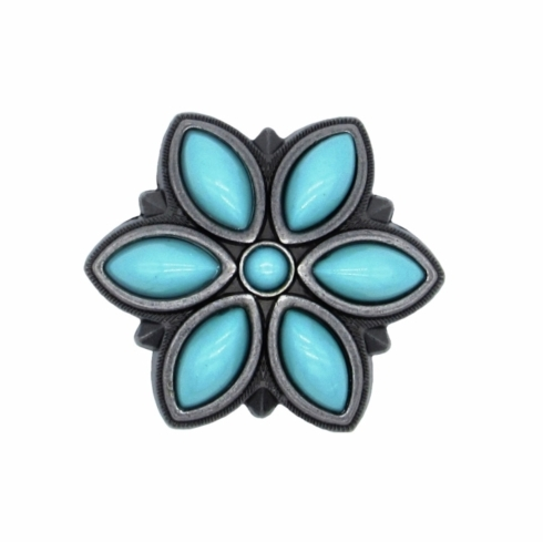 $16.20 Turquoise Flower Cabinet Knob Pewter Ox