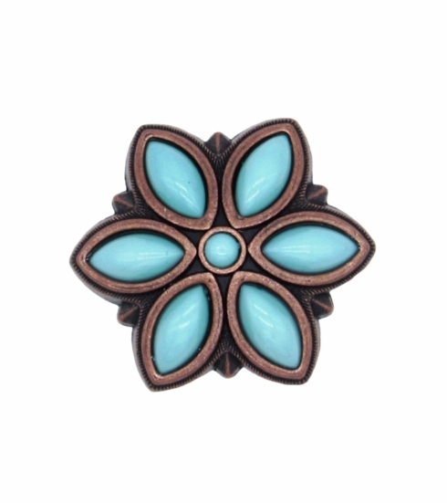 $16.20 Turquoise Flower Cabinet Knob Satin Copper Ox