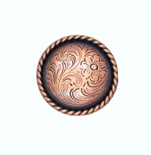 $10.20 Small Engraved Flower Satin Copper Ox Cabinet Knob