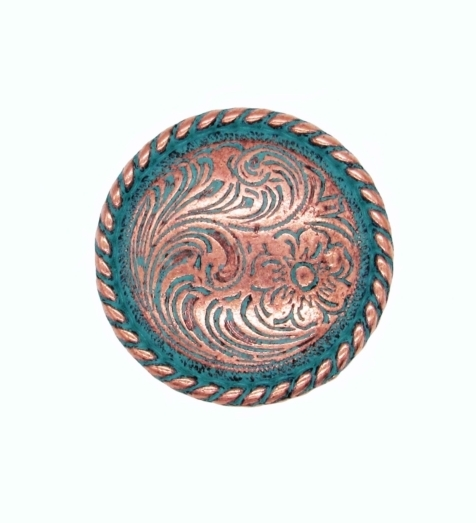 $11.70 Small Engraved Flower Copper Patina Cabinet Knob
