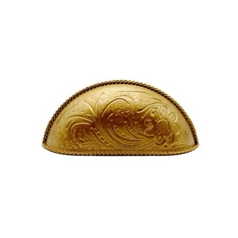$21.20 Engraved Flower 3-in Center to Center Lux Gold Cup Cabinet Pull