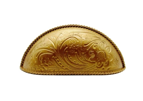 $21.20 Engraved Flower Lux Gold 3-In Centers Cabinet Cup Pull
