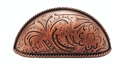 $19.70 Engraved Flower Copper Ox 3-In Centers Cabinet Cup Pull