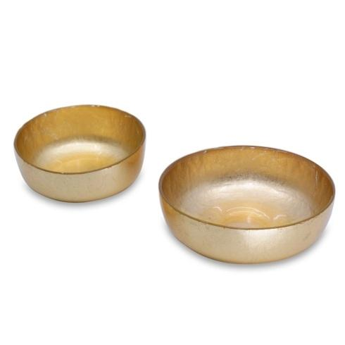 Beatriz Ball  New Orleans Glass Shallow Rnd Bowl Set Gold Foil $49.50