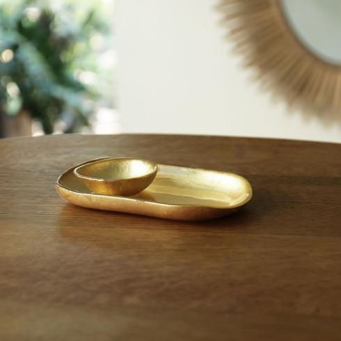 $39.00 Oval Platter (Sm) With Mini Bowl Gold Foil