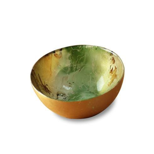 $32.00 Round Bowl Green & Gold Marble Small