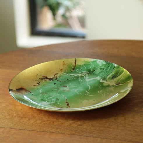 $43.00 Glass Rnd Platter (Lg) Green & Gold Marble