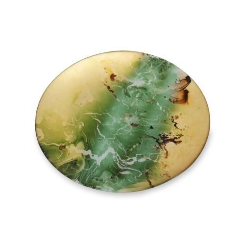 $43.00 Round Platter Green & Gold Marble Large