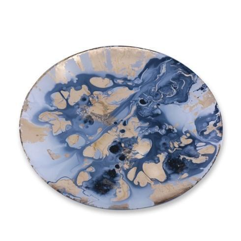 Beatriz Ball  New Orleans Glass Round Platter (Lg) Blue & Gold Marble $57.00