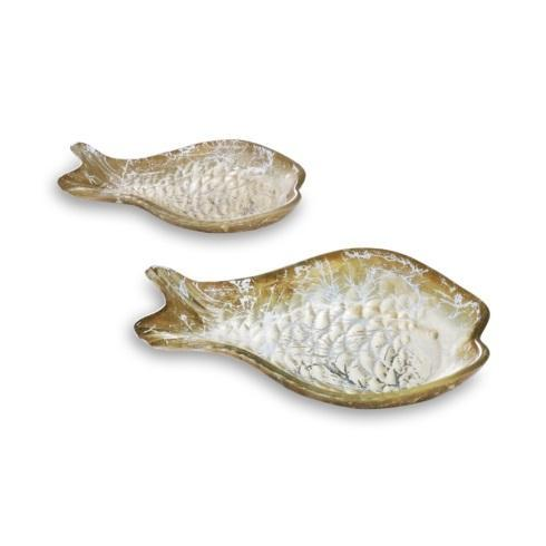 $49.50 2 Piece Cracked Gold Foil Fish Set
