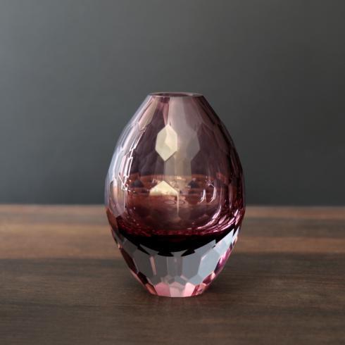 Beatriz Ball  Glass Faceted teardrop bud vase amethyst $49.00