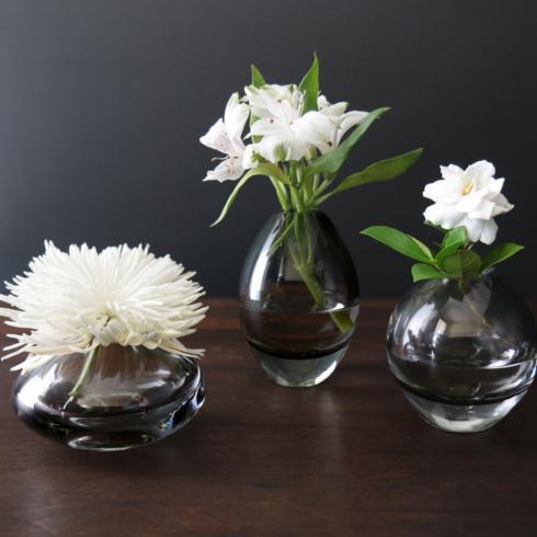 $108.00 Smooth Bud Vase Set Smoke Grey