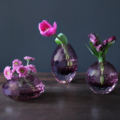 $132.00 Faceted Bud Vase Set Amethyst