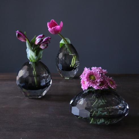 $132.00 Faceted Bud Vase Set Smoke Grey