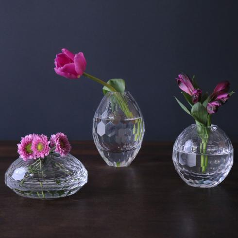 $132.00 Faceted Bud Vase Set Clear
