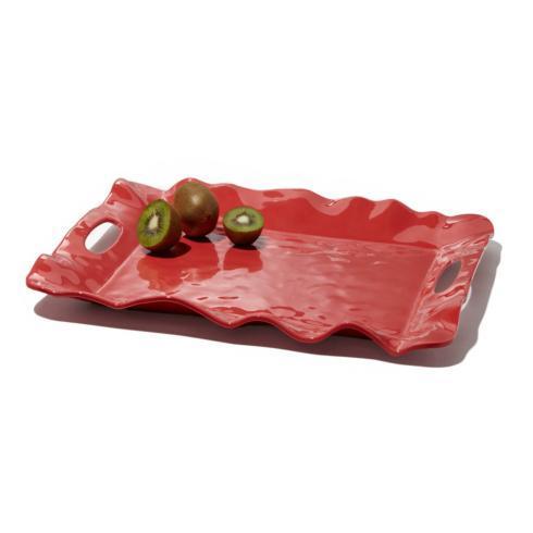 $61.00 Havana rect tray w/handles coral
